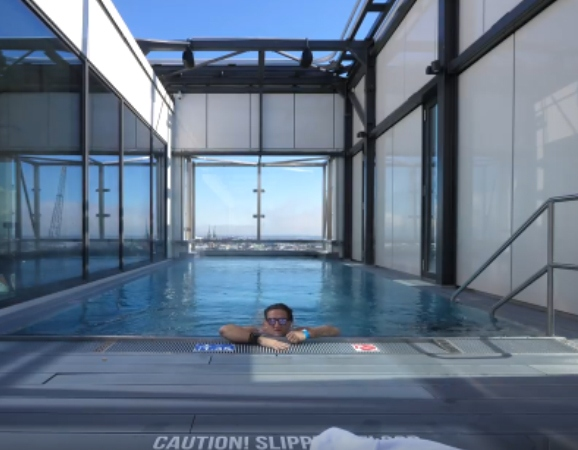 Casey neistat takes a bath in processing 39 s delivered pool - Hotels in bath with swimming pool ...
